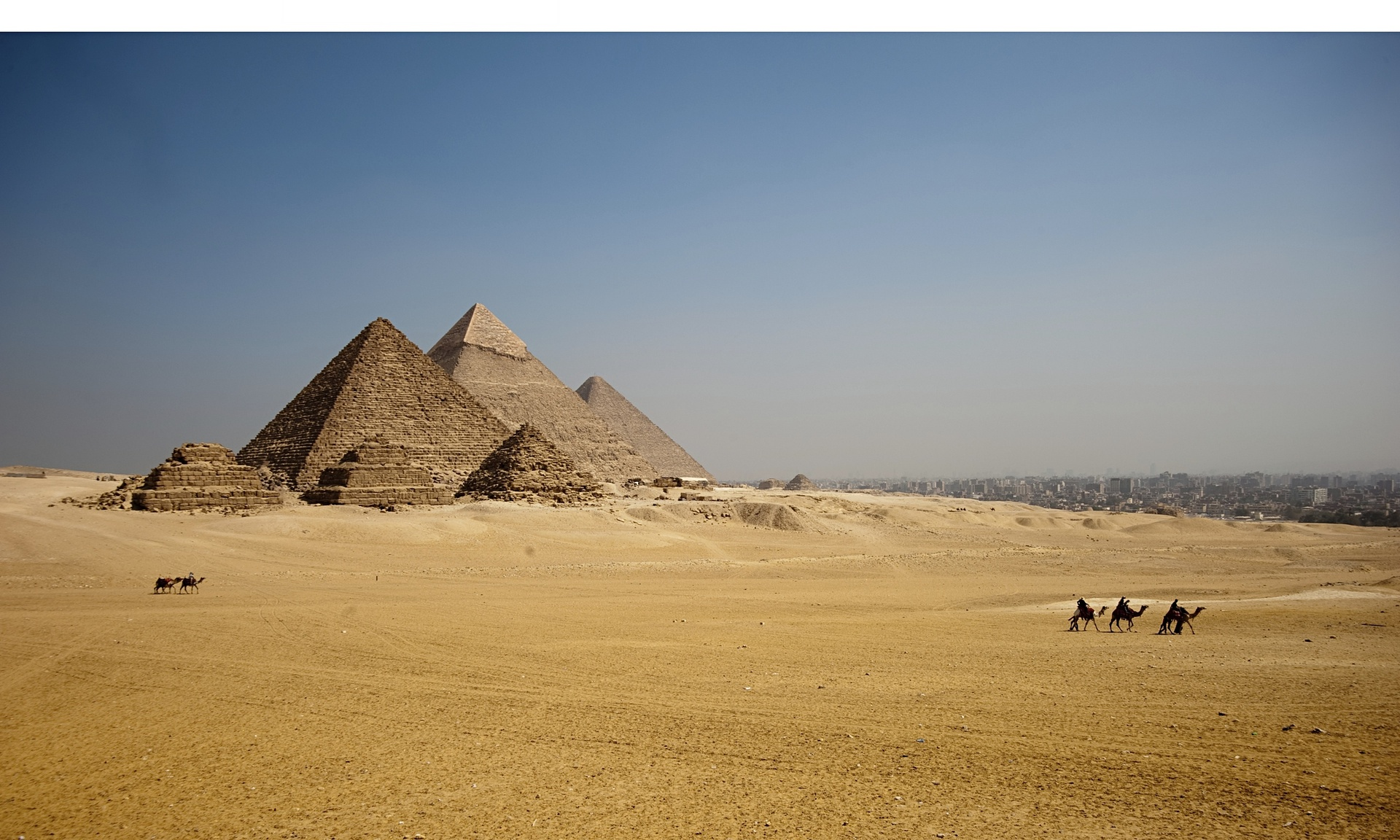 Giza pyramids, Egypt And yes, they are as uncrowded as this right now. Photograph: Steven Allan/Getty Images